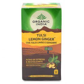 Chá Tulsi limão e gengibre caixa 25 sachês - Organic India