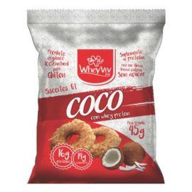 Biscoito Fit de coco com whey protein 45g - Wheyviv
